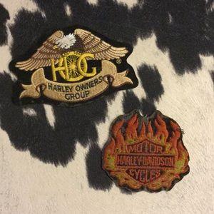 Vintage Harley Davidson patches.